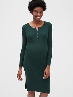 Maternity Ribbed Henley Sweater Dress