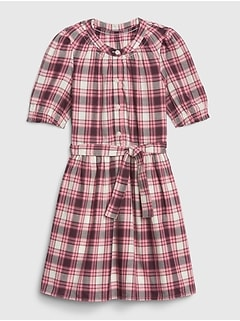 Kids Plaid Tie-Belt Dress