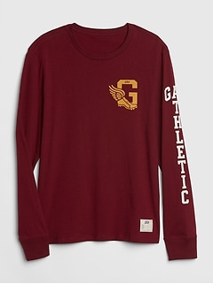 Gap Athletic Logo Long Sleeve Crewneck T-Shirt