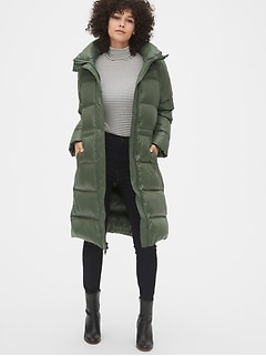 Long Down High Shine Puffer Coat