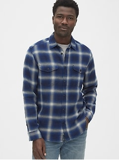 Denim Plaid Work Shirt
