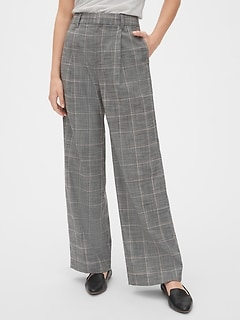 High Rise Plaid Wide-Leg Pants