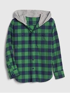 Kids Hoodie Flannel Shirt
