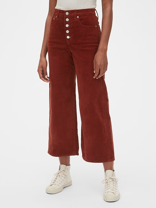 High Rise Button-Fly Wide-Leg Ankle Cords