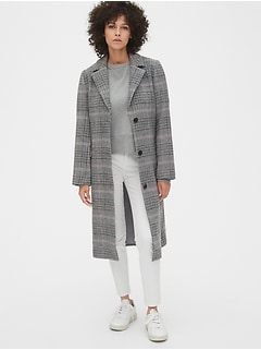 Plaid Longline Wool-Blend Coat