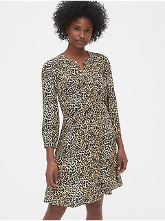 Print A-Line Shirtdress