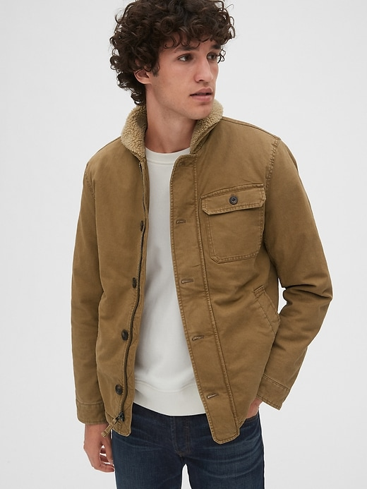 Mens Sherpa-Lined Deck Jacket