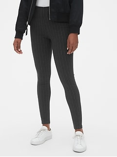 High Rise Pinstripe Leggings in Ponte