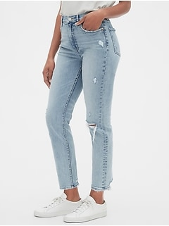 High Rise Distressed Cigarette Jeans with Secret Smoothing Pockets With Washwell™