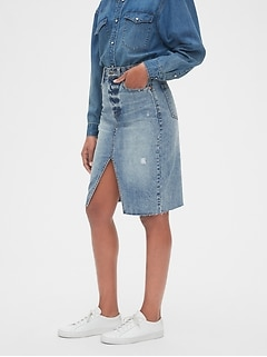 High Rise Denim Pencil Skirt
