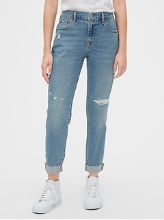 Mid Rise Rip & Repair Girlfriend Jeans