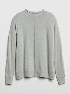 Roll-Edge Mockneck Tunic Sweater