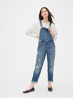 Distressed Lived-In Denim Overalls