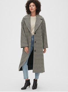 Oversized Longline Plaid Wool-Blend Coat