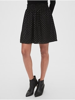 Metallic Clip-Dot Mini Skirt