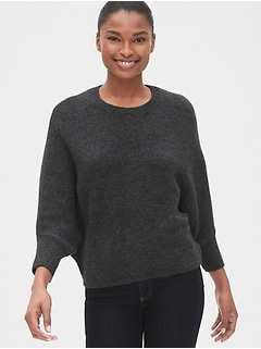 Three-Quarter Dolman Sleeve Crewneck Sweater
