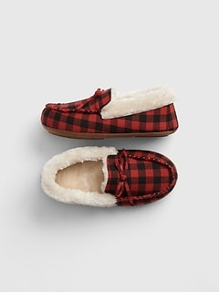 Kids Buffalo Plaid Slippers