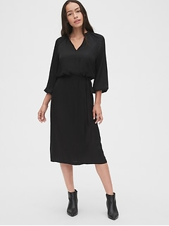 Split-Neck Midi Dress