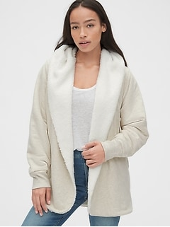 Sherpa-Lined Open-Front Hoodie in French Terry