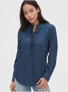 Denim Ruffle-Trim Popover Shirt