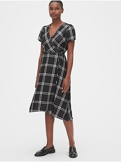 Shimmer Plaid Midi Wrap Dress