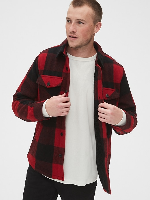 Cozy Wool Blend Plaid Shirt Jacket by Gap