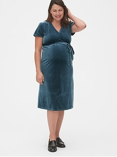 Maternity Velvet Faux-Wrap Dress