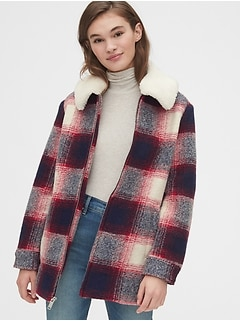 Plaid Wool-Blend Coat with Detachable Sherpa Collar