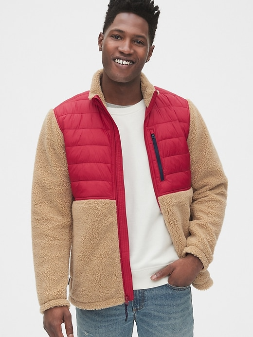 Gap Men's Mix-Fabric Sherpa Full-Zip Jacket