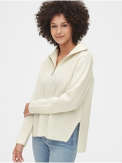 Shaker Stitch Half-Zip Sweater