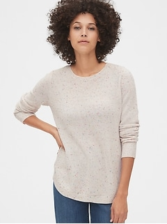 True Soft Textured Crewneck Tunic Sweater