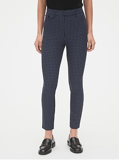 High Rise Plaid Skinny Ankle Pants