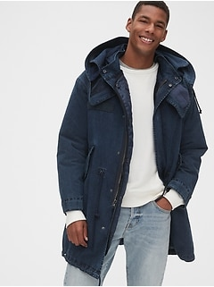 3-in-1 Indigo Parka Jacket with Detachable Hood