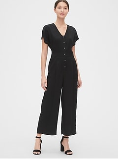 Pleated Button-Front Jumpsuit in TENCEL™