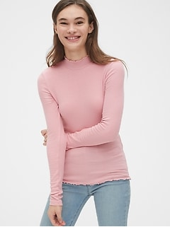 Lettuce-Edge Ribbed Mockneck Top