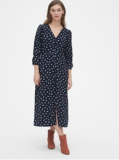 Puff Sleeve Button-Front Midi Dress