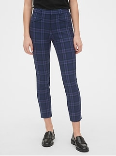 Plaid Skinny Ankle Pants