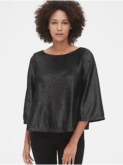 Three-Quarter Sleeve Sequin Top