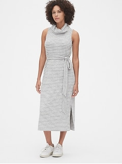 Softspun Turtleneck Tie-Belt Midi Dress