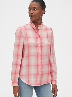 Plaid Ruffle-Neck Shirt