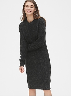 Pointelle Bobble Stitch Sweater Dress