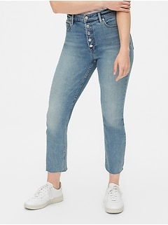 High Rise Button-Fly Cigarette Jeans with Secret Smoothing Pockets