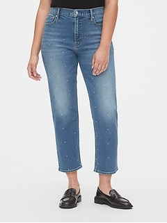 High Rise Studded Cheeky Straight Jeans with Secret Smoothing Pockets