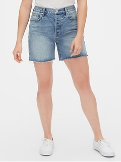 Mid Rise Boyfriend Shorts with Raw Hem