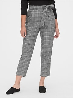 High Rise Plaid Tie-Waist Pants