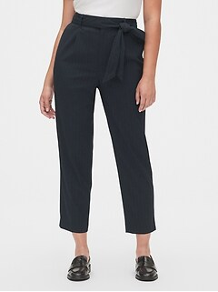 High Rise Stripe Tie-Waist Pants