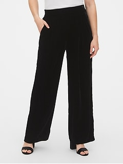 High Rise Velvet Pleated Wide-Leg Pants