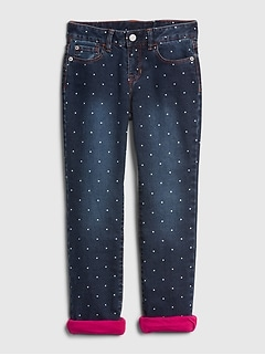 Kids Dot Jersey-Lined Straight Jeans