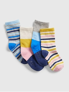 Toddler Stripe Crew Socks (4-Pack)