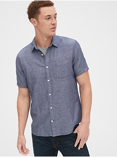 Button-Front Shirt in Linen-Cotton